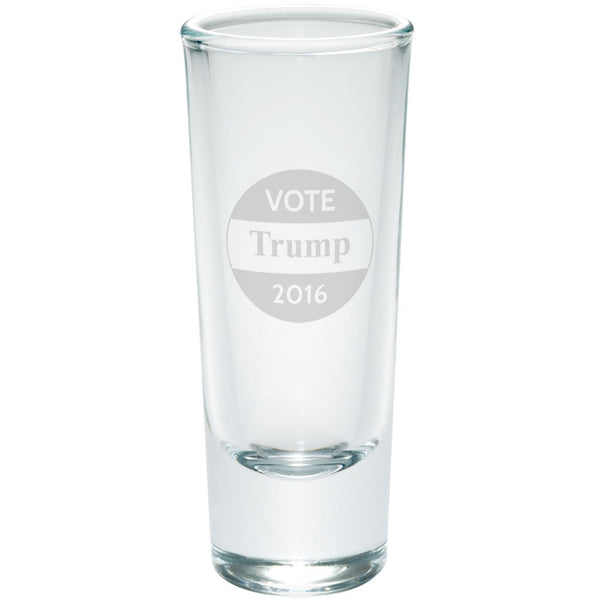 Election 2016 Vote Donald Trump Button Etched Shot Glass Shooter