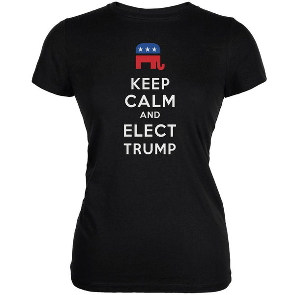 Election 2016 Keep Calm and Elect Trump Black Juniors Soft T-Shirt