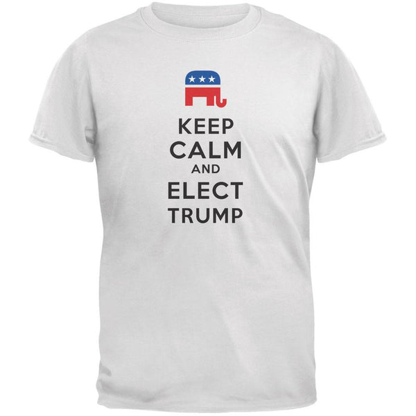 Election 2016 Keep Calm and Elect Trump White Adult T-Shirt