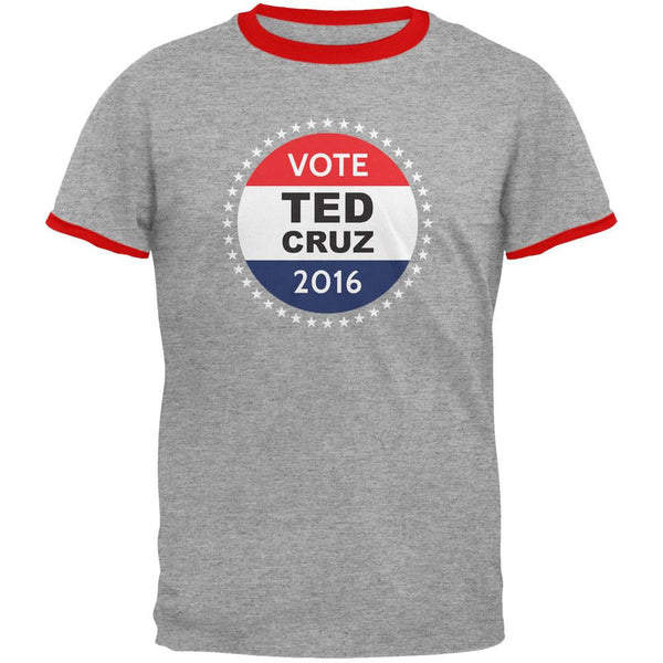 Election 2016 Ted Cruz Badge Heather/Red Men's Ringer T-Shirt