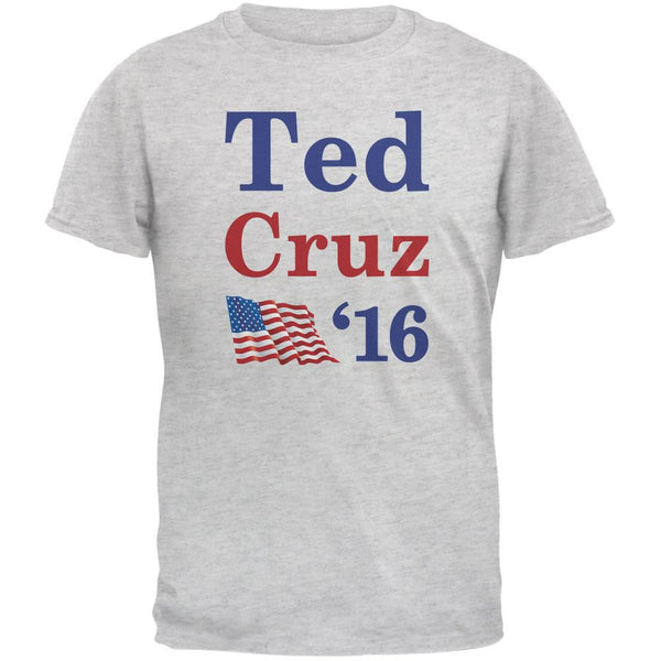 Election 2016 16 Flag Ted Cruz Light Heather Grey Adult T-Shirt