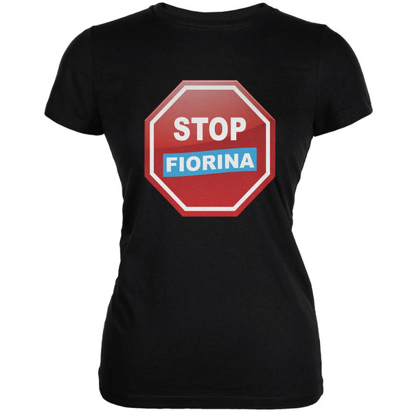 Election 2016 Stop Fiorina Black Juniors Soft T-Shirt