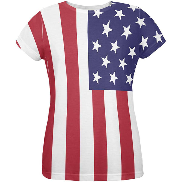 4th of July American Flag All Over Womens T-Shirt