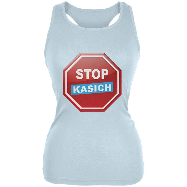 Election 2016 Stop Kasich Pale Blue Juniors Soft Tank Top