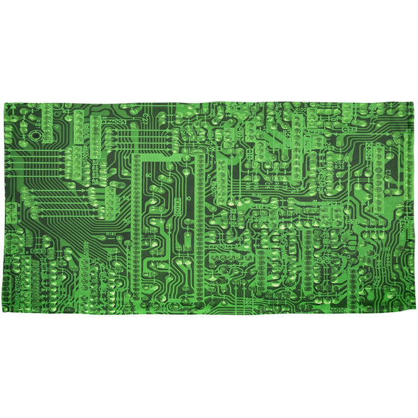 Circuit Board All Over Plush Beach Towel
