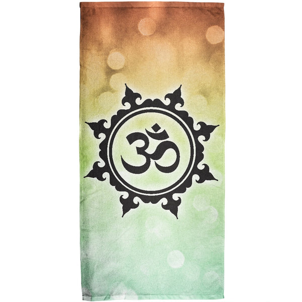 Om All Over Plush Beach Towel
