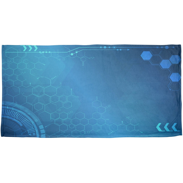 Tech Pattern All Over Plush Beach Towel