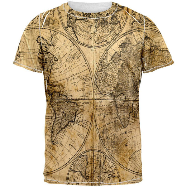Vintage Map All Over Adult T-Shirt