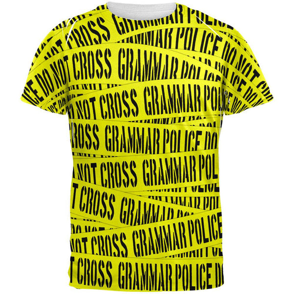 Grammar Police Caution Tape Funny All Over Adult T-Shirt