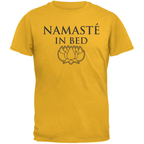 Namaste In Bed Gold Adult T-Shirt