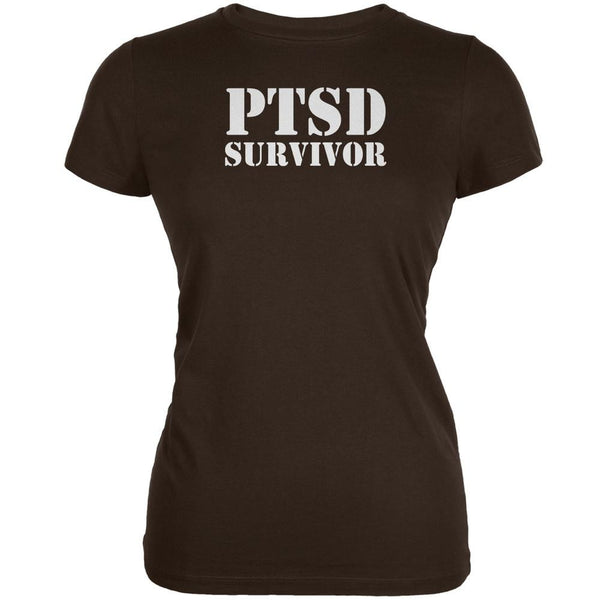PTSD Survivor Brown Juniors Soft T-Shirt