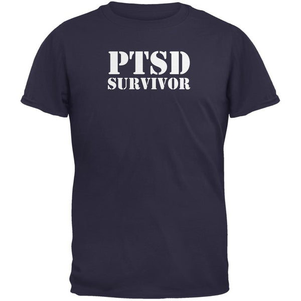 PTSD Survivor Navy Adult T-Shirt