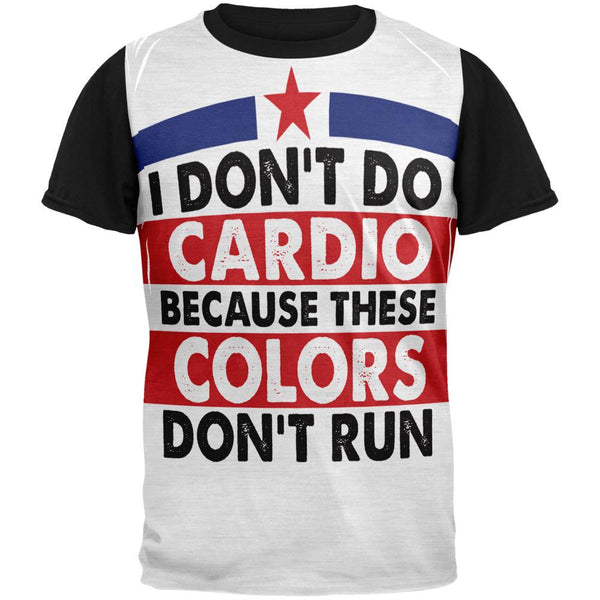 4th Of July I Don't Do Cardio Adult Black Back T-Shirt