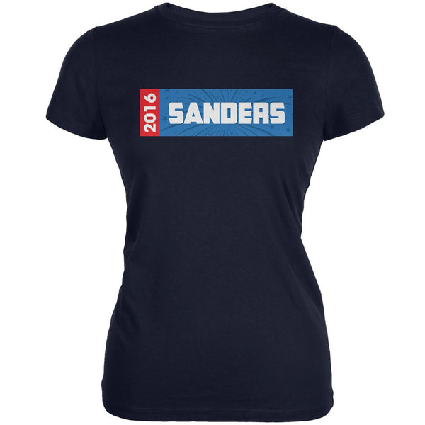 Election 2016 Sanders Rectangle Logo Navy Juniors Soft T-Shirt