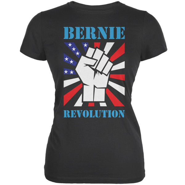 Election 2016 Bernie Sanders Raised Fist Revolution Asphalt Juniors Soft T-Shirt