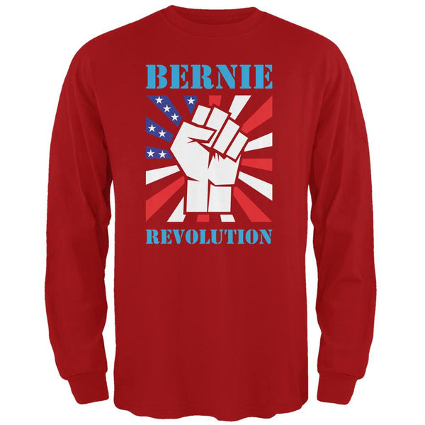 Election 2016 Bernie Sanders Raised Fist Revolution Red Adult Long Sleeve T-Shirt