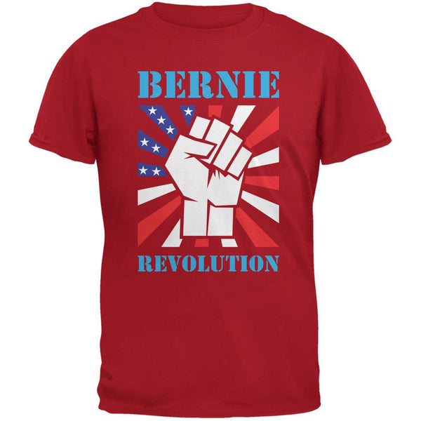 Election 2016 Bernie Sanders Raised Fist Revolution Red Adult T-Shirt