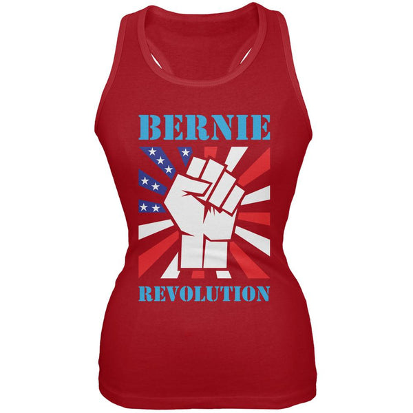 Election 2016 Bernie Sanders Raised Fist Revolution Red Juniors Soft Tank Top