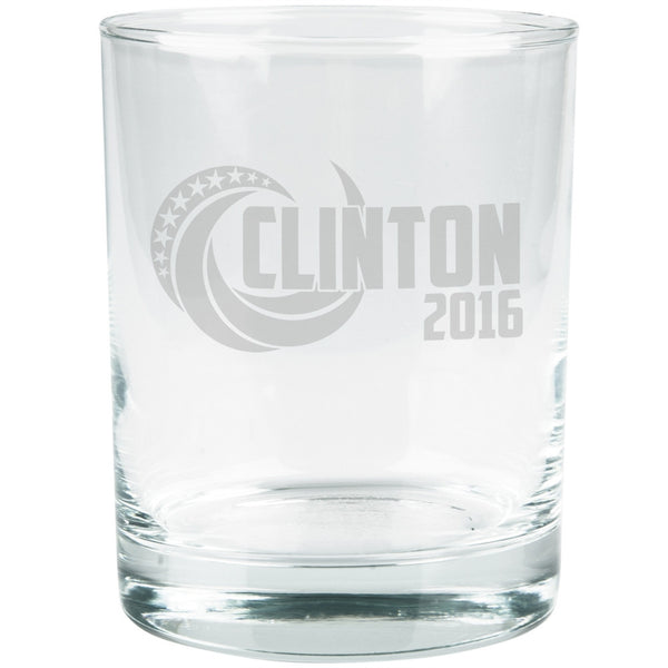 Election 2016 Clinton 2016 Swoosh Etched Glass Tumbler