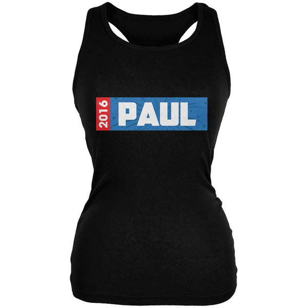 Election 2016 Paul Rectangle Logo Black Juniors Soft Tank Top