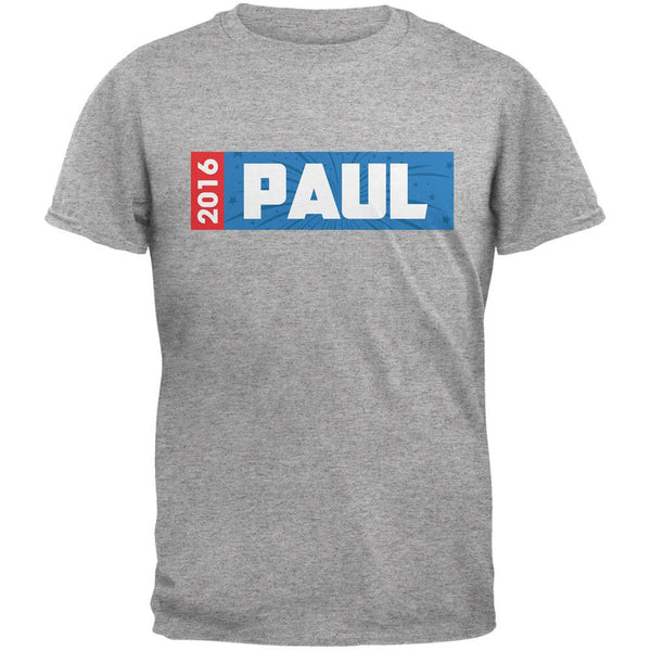 Election 2016 Paul Rectangle Logo Heather Grey Adult T-Shirt