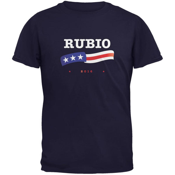 Election 2016 Marco Rubio American Flag Navy Adult T-Shirt
