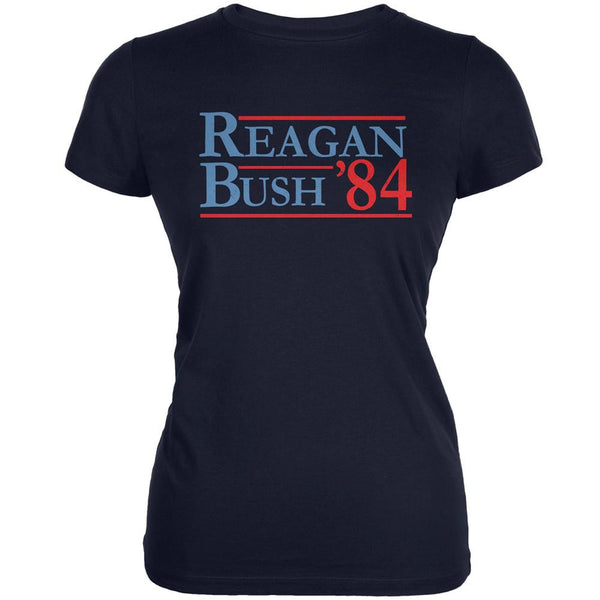 Election 1984 Reagan Bush Distressed Navy Juniors Soft T-Shirt