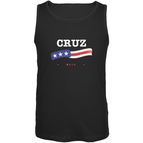 Election 2016 Ted Cruz American Flag Black Adult Tank Top
