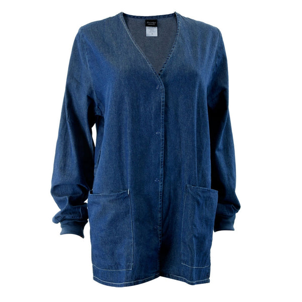 Jean Style Button Down Long Sleeve Adult Scrub Top