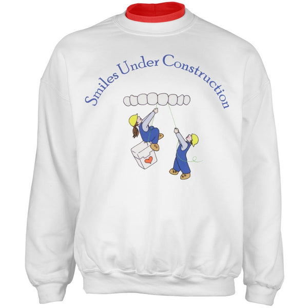 Dentist Smiles Under Construction Adult 2fer Crew Sweatshirt