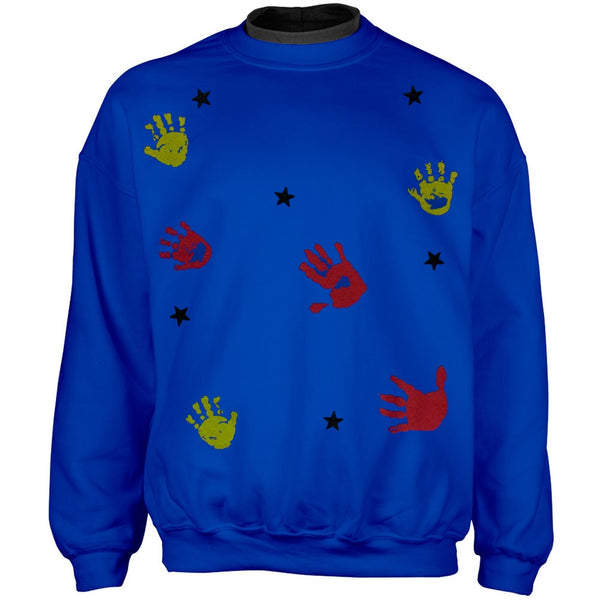 Kids Hand Prints & Stars Adult 2Fer Crew Sweatshirt