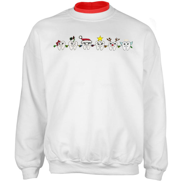 Dentist Christmas Teeth Adult 2Fer Crew Sweatshirt