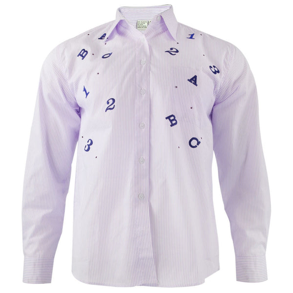 Teacher's ABC 123 Embroidery Purple Adult Button-Up T-Shirt