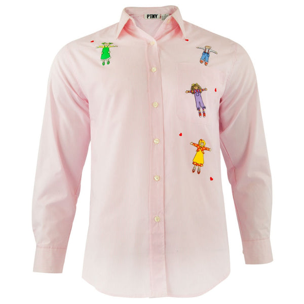 Children Ready To Hug Patch Adult Button-Up Long Sleeve T-Shirt