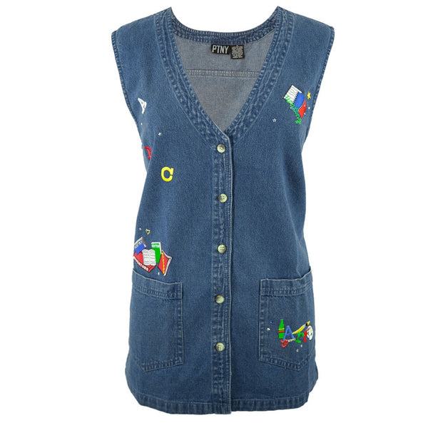 Teacher's School Books & Supplies Patch Women's Sleeveless Denim Vest