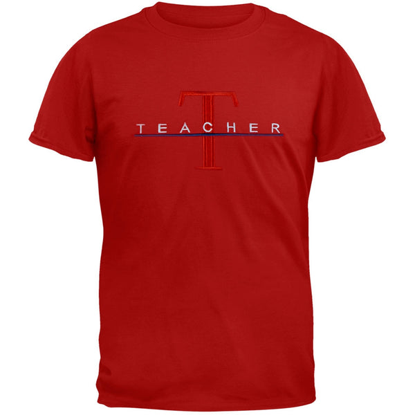 Teacher Big T Logo Embroidery Red Adult T-Shirt