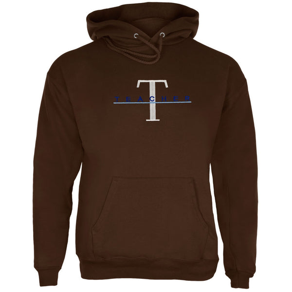 Teacher Big T Logo Embroidery Brown Adult Pullover Hoodie