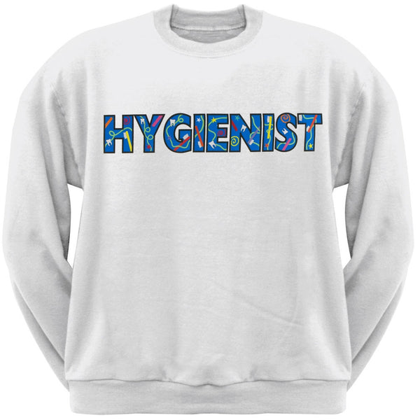 Hygienist Colorful Logo White Adult Crew Sweatshirt