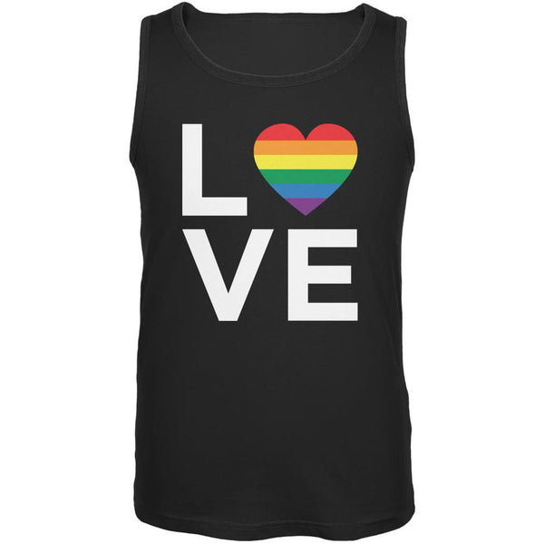 LGBT Love Stacked Heart Black Adult Tank Top