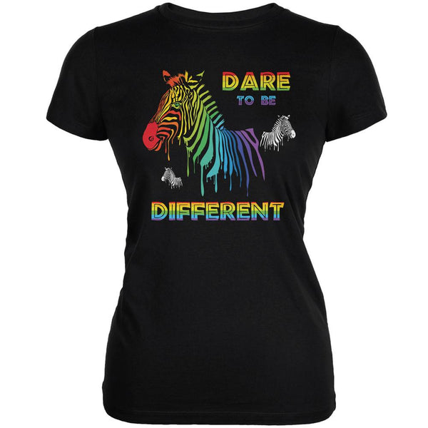 Gay Pride LGBT Dare To Be Different Black Juniors Soft T-Shirt