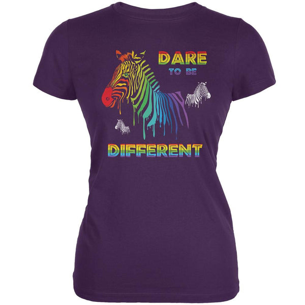 Gay Pride LGBT Dare To Be Different Purple Juniors Soft T-Shirt