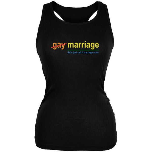 Gay Pride LGBT Let's Just Call It Marriage Black Juniors Soft Tank Top
