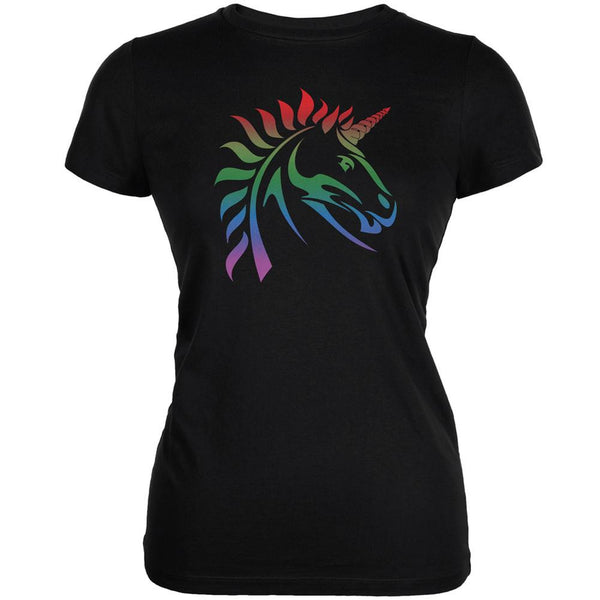 Gay Pride LGBT Rainbow Unicorn Black Juniors Soft T-Shirt