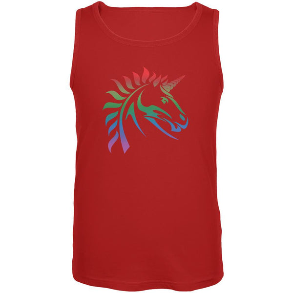 Gay Pride LGBT Rainbow Unicorn Red Adult Tank Top