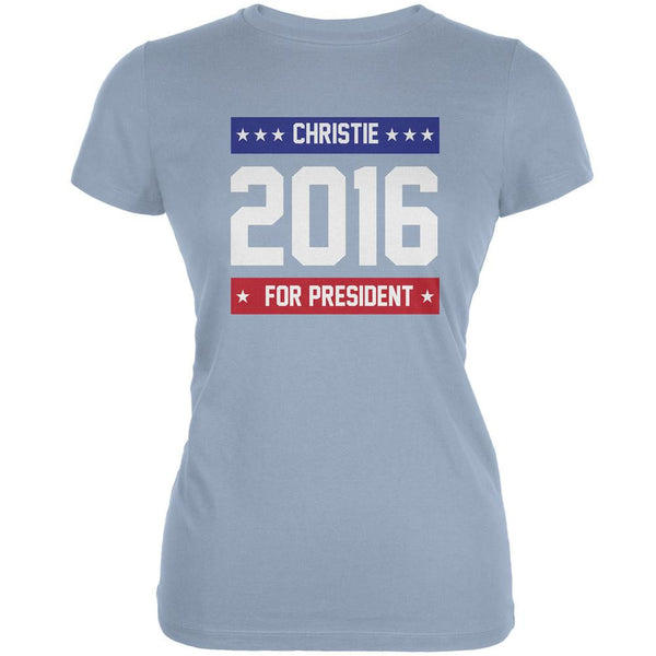 Election 2016 Christie For President Logo Light Blue Juniors Soft T-Shirt
