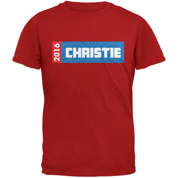 Election 2016 Christie Rectangle Logo Red Adult T-Shirt