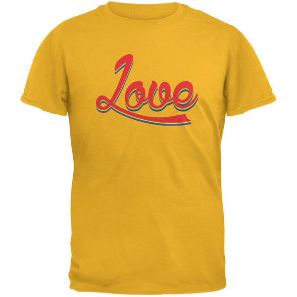 LGBT Script Love Rainbow Gold Adult T-Shirt