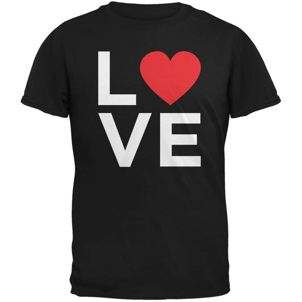 Valentine's Day Love Stacked Heart Black Adult T-Shirt