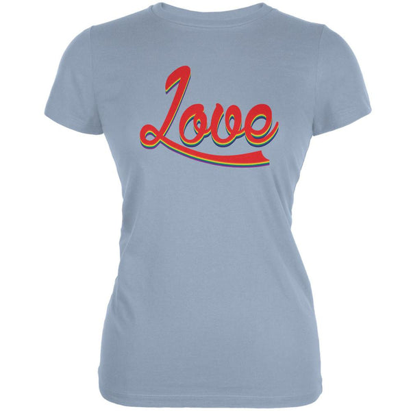 LGBT Script Love Rainbow Light Blue Juniors Soft T-Shirt