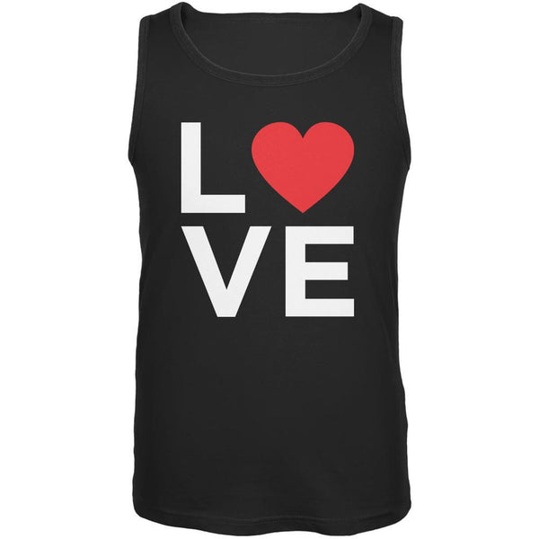 Valentine's Day Love Stacked Heart Black Adult Tank Top